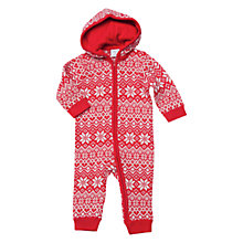 Buy Polarn O. Pyret Snowflake Hooded Onesie, Red Online at johnlewis.com