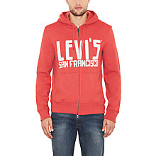Buy Levi's Zip-Through Logo Hoodie, Red Online at johnlewis.com