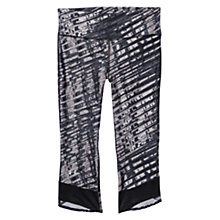 Buy Under Armour Printed Fly-By Compression Capri Pants, Black/Purple Online at johnlewis.com