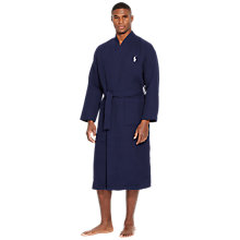 Buy Polo Ralph Lauren Cotton Waffle Robe, Navy Online at johnlewis.com