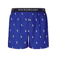 Buy Polo Ralph Lauren Woven Pony Boxer Shorts, Blue Online at johnlewis.com