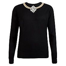Buy Ted Baker Demati Chain Embellished Knitted Jumper, Black Online at johnlewis.com