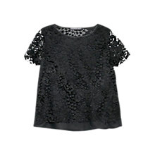 Buy Violeta by Mango Guipure T-Shirt, Black Online at johnlewis.com