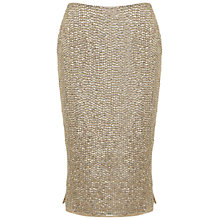 Buy Miss Selfridge Sequin Pencil Skirt, Gold Online at johnlewis.com