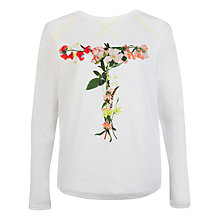 Buy Ted Baker Teeter Floral Print Jumper, White Online at johnlewis.com