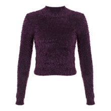 Buy Miss Selfridge Funnel Neck Eyelash Jumper, Purple Online at johnlewis.com