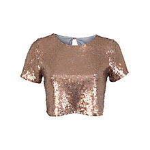 Buy Miss Selfridge Sequin T-Shirt, Bronze Online at johnlewis.com