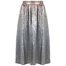 Buy Miss Selfridge Sequin Midi Skirt, Silver Grey Online at johnlewis.com