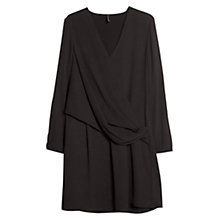Buy Mango Wrap Neckline Dress, Black Online at johnlewis.com