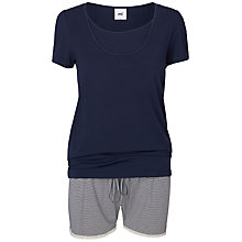 Buy Mamalicious Thilde Short Sleeve Nursing Pyjama Set, Black Iris Online at johnlewis.com