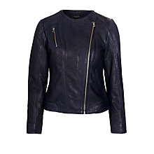 Buy Selected Femme Leather Jacket, Peacoat Online at johnlewis.com