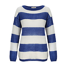 Buy Selected Femme Stripe Knit Jumper, Mazarine Blue Online at johnlewis.com