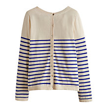 Buy Joules Edie Button Back Cotton Jumper, Cream/Navy Online at johnlewis.com