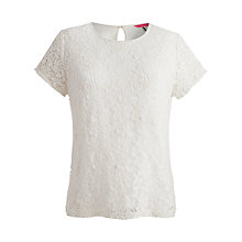 Buy Joules Lace Front Top, Bright White Online at johnlewis.com