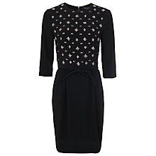 Buy French Connection Diamond Round Neck Tie Waist Dress, Black Online at johnlewis.com