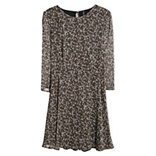 Buy Mango Printed Chiffon Dress, Dark Brown Online at johnlewis.com