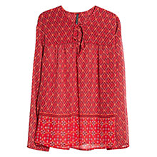 Buy Mango Ethnic Print Blouse, Bright Red Online at johnlewis.com