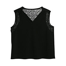 Buy Mango Lace Crepe Top, Black Online at johnlewis.com