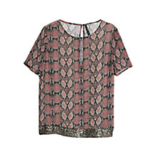 Buy Mango Snake Print Sequin Trim Blouse, Light Pastel Pink Online at johnlewis.com