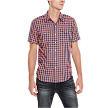 Buy Levi's Short Sleeve Barstow Small Check Shirt, Orange/Blue Online at johnlewis.com