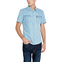 Buy Levi's Short Sleeve Barstow Denim Shirt, Light Indigo Online at johnlewis.com