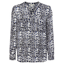 Buy Whistles Snake Print Silk V-Neck Blouse, Blue Online at johnlewis.com