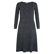 Buy Hobbs Feather Jacquard Dress, Grey Charcoal Online at johnlewis.com