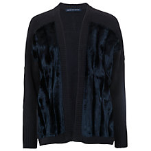 Buy French Connection Joey Faux Fur Trim Cardigan, Nocturnal/Utility Blue Online at johnlewis.com