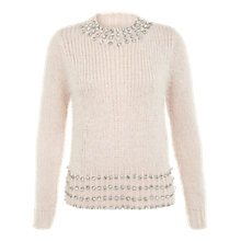 Buy Miss Selfridge Embellished Jumper, Pink Online at johnlewis.com