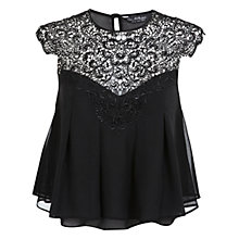 Buy Miss Selfridge Lace Trim Trapeze Top, Assorted Online at johnlewis.com