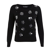 Buy Miss Selfridge Embellished Flower Jumper, Black Online at johnlewis.com