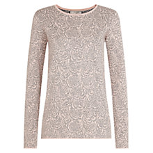 Buy Hobbs Feather Jacquard Jumper, Winter Rose Online at johnlewis.com