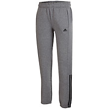 Buy Adidas Essentials Three Stripes Brushed Boys' Training Trousers, Grey/Black Online at johnlewis.com
