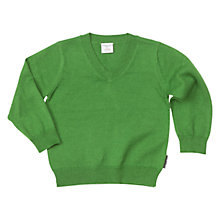 Buy Polarn O. Pyret Boys' Long Sleeve V Neck Wool Jumper, Green Online at johnlewis.com