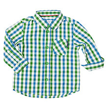 Buy Polarn O. Pyret Baby Long Sleeve Check Shirt, Green Online at johnlewis.com