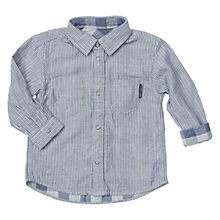 Buy Polarn O. Pyret Baby Reversible Stripe & Check Shirt, Blue/Grey Online at johnlewis.com