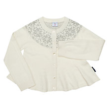 Buy Polarn O. Pyret Girls' Wool Knit Festive Cardigan, White Online at johnlewis.com