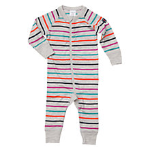 Buy Polarn O. Pyret Baby Merino Wool Stripe Romper, Grey/Multi Online at johnlewis.com
