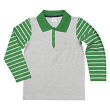 Buy Polarn O. Pyret Boys' Long Sleeve Polo Jersey, Grey/Green Online at johnlewis.com