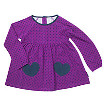 Buy Polarn O. Pyret Girls' Polka Dot Heart Motif Tunic Top, Purple Online at johnlewis.com