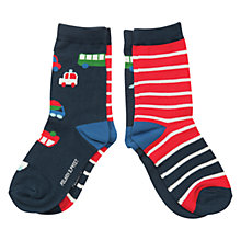 Buy Polarn O. Pyret Children's Vehicle Print Socks, Pack of 2, Red/Navy Online at johnlewis.com