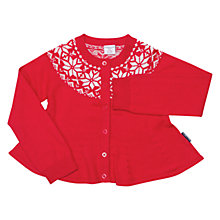Buy Polarn O. Pyret Girls' Wool Knit Festive Cardigan, Red Online at johnlewis.com