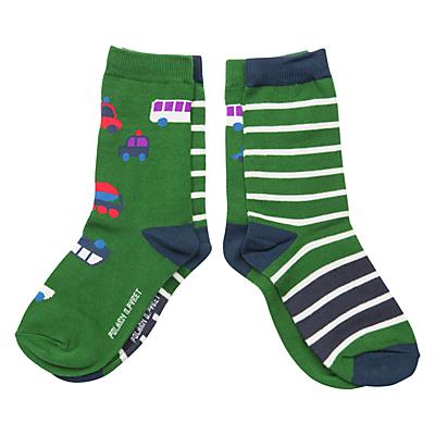 Polarn O. Pyret Children's Vehicle & Stripe Socks, Pack of 2, Green