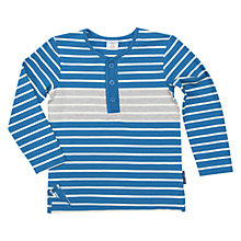 Buy Polarn O. Pyret Children's Stripe Long Sleeve Henley Top, Blue Online at johnlewis.com