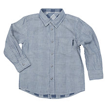 Buy Polarn O. Pyret Boys' Reversible Stripe & Check Shirt, Blue/Grey Online at johnlewis.com
