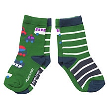 Buy Polarn O. Pyret Vehicle Stripe Socks, Pack of 2, Green Online at johnlewis.com