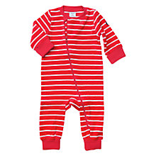 Buy Polarn O. Pyret Baby Stripe Zip Velour Romper, Red Online at johnlewis.com