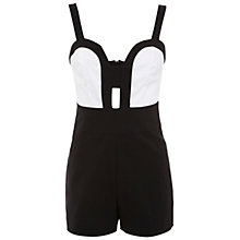Buy Miss Selfridge Monochrome Plunge Playsuit, Black/White Online at johnlewis.com