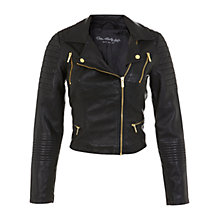 Buy Miss Selfridge Crop Faux Leather Biker Jacket, Black Online at johnlewis.com