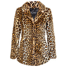 Buy Miss Selfridge Faux Fur Leopard Print Coat, Leopard Print Online at johnlewis.com